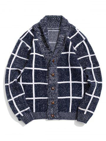 Grid Print Button Up Heather Knit Cardigan