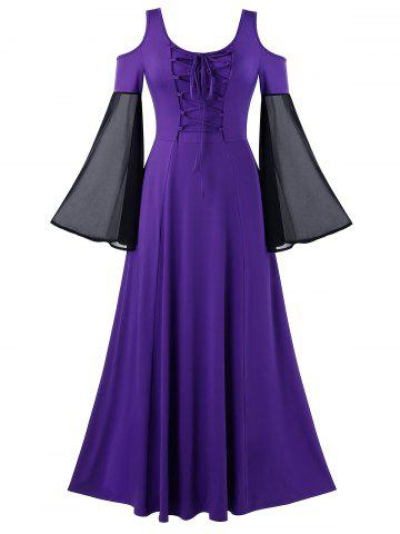 Plus Size Contrast Cold Shoulder Lace Up Vintage Dress - PURPLE AMETHYST - 4X
