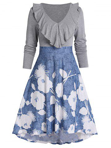 Floral Print Flounce High Low Fit And Flare Dress