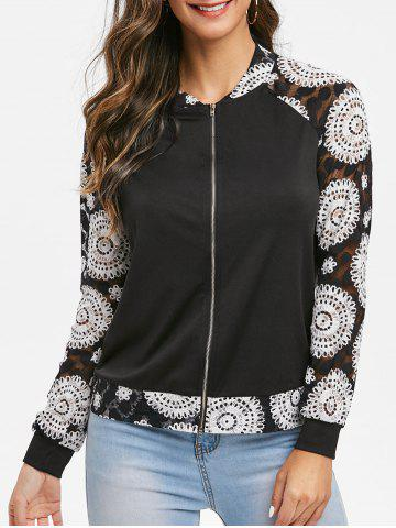 Ditsy Print Zipper Fly Raglan Sleeve Coat
