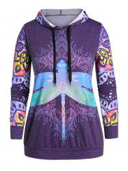 Plus Size Tunic Printed Hoodie -