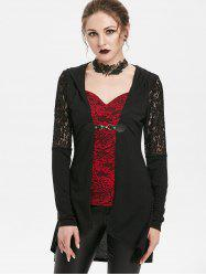 Lace Panel Hooded Longline T-shirt -