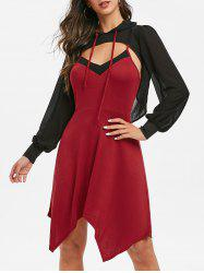 Contrast Cami Asymmetrical Dress with Hooded T Shirt -