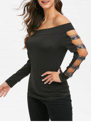 Off The Shoulder Cut Out Glitter T Shirt -
