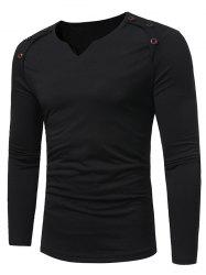 Notch Neck Solid Button Long Sleeve T-shirt -