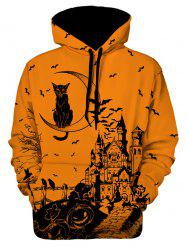Sweat à capuche Halloween imprimé graphique - Multi M