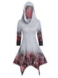 Convertible Tree Print Halloween Hanky Hem Dress -