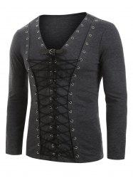 Buckle Strap Lace-up Front Long Sleeve Heathered T-shirt -