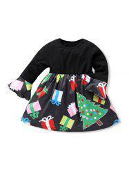 Girls Christmas Tree Print Ruffled Sleeve A Line Dress -