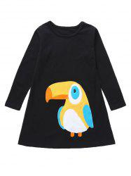 Girls Parrot Graphic Midi Long Sleeve Dress -