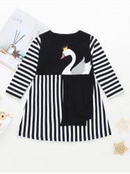 Girls Swan Graphic Striped A Line Dress -