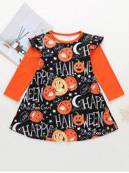 Girls Halloween Pumpkin Print Ruffled Sleeve Mini Dress -