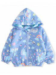 Girls Unicorn Star Print Zip Up Hooded Jacket -