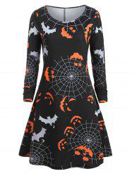 Plus Size Halloween Pumpkin Spider Web Print Swing Dress -