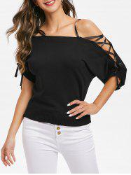 Off Shoulder Lace Up Sleeves Sweater -