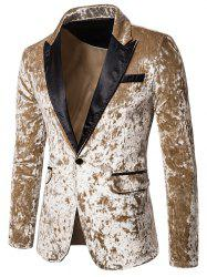 Crushed Velvet One Button Party Blazer -