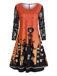 Halloween Plus Size Castle Pumpkin Print Swing Dress -