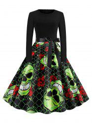 Skull Floral Print Belted Halloween Long Sleeves Dress -