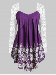 Curved Hem Printed Lace Sleeve Plus Size Top -