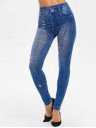 High Rise 3D Ripped Print Jeggings -