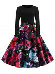 Skull Floral Belted Round Neck Halloween Flare Dress -