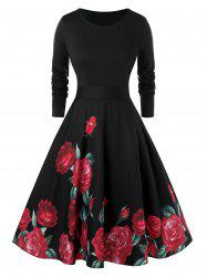 Plus Size Fit And Flare Floral Print Zippered Vintage Dress -