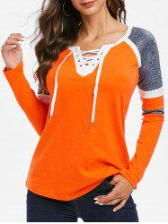 Contrast Lace Up V Neck Tee -