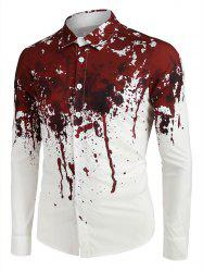 Halloween Blood Splatter Print Long Sleeve Button Up Shirt -