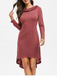 Hooded High Low Lace Up Midi Dress -