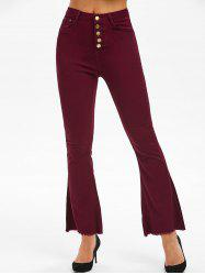 High Waisted Frayed Boot Cut Pants -