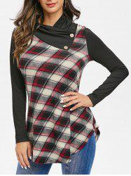 Plaid Panel Tunic Cowl Collar T Shirt -