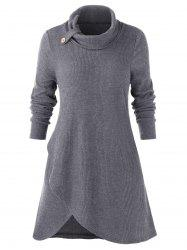 Plus Size Turn-down Collar Split Solid Sweater -