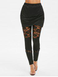 Lace Insert Criss Cross Gothic Skirted Leggings -