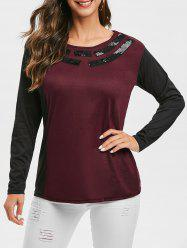 Sequined Two Tone Round Neck Tee -