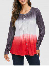 Ombre Pleated Button Up Long Sleeve Top -