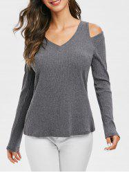 Cut Out Ribbed V Neck Knitwear -