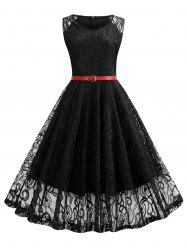 V Neck Belted Lace A Line Dress -