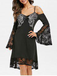 Cold Shoulder Lace Insert Butterfly Print Dress -