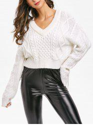 V Neck Cable Knit Asymmetrical Sweater -