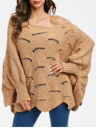 Open Knit Batwing Sleeve Loose Sweater -