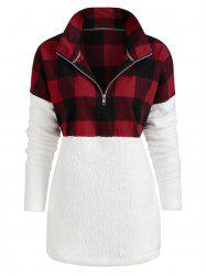 Plus Size Plaid Panel Half Zip Pockets Faux Fur Sweatshirt -
