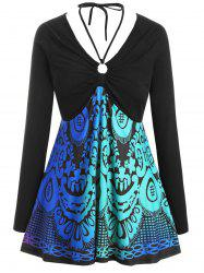 Long Sleeve Printed O Ring Tie Collar Plus Size Top -
