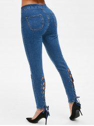 Lace Up High Rise Skinny Jeans -