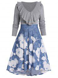 Floral Print Flounce High Low Fit And Flare Dress -