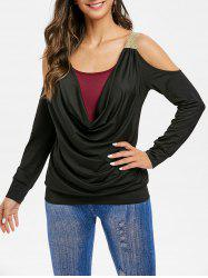 Open Shoulder Color Block Cowl Neck T Shirt -