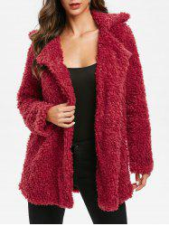 Manteau Long Bouton Invisible en Fausse Fourrure - Rouge Vineux XL