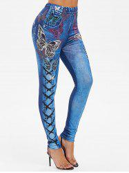 High Rise Butterfly Print Jeggings -