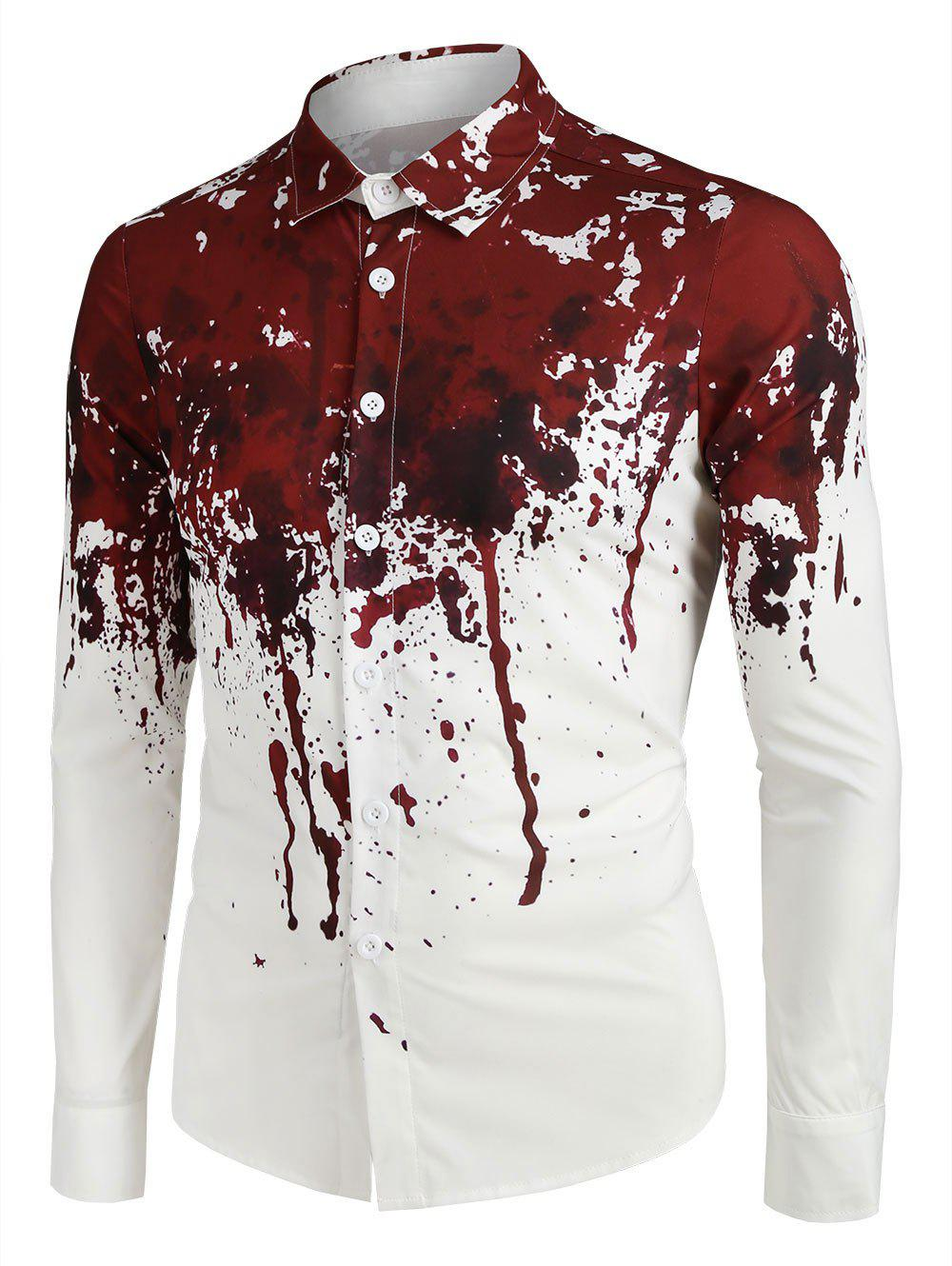 Hot Halloween Blood Splatter Print Long Sleeve Button Up Shirt