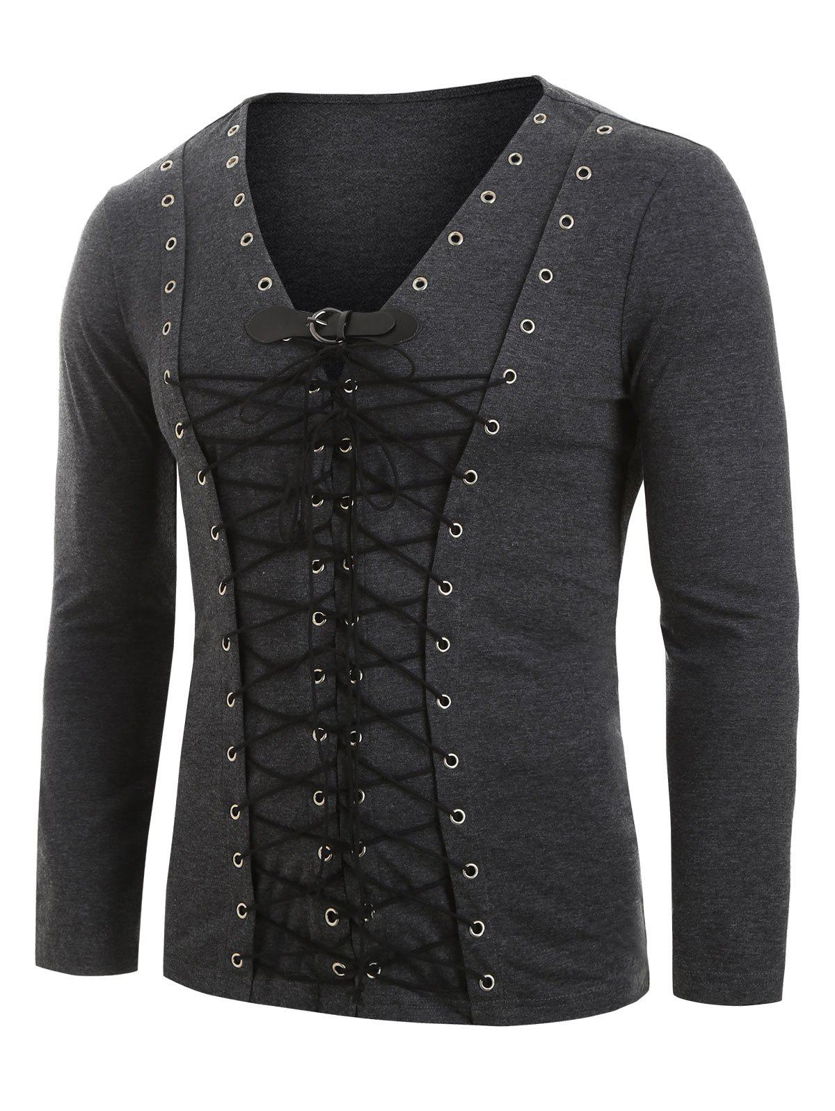 Discount Buckle Strap Lace-up Front Long Sleeve Heathered T-shirt