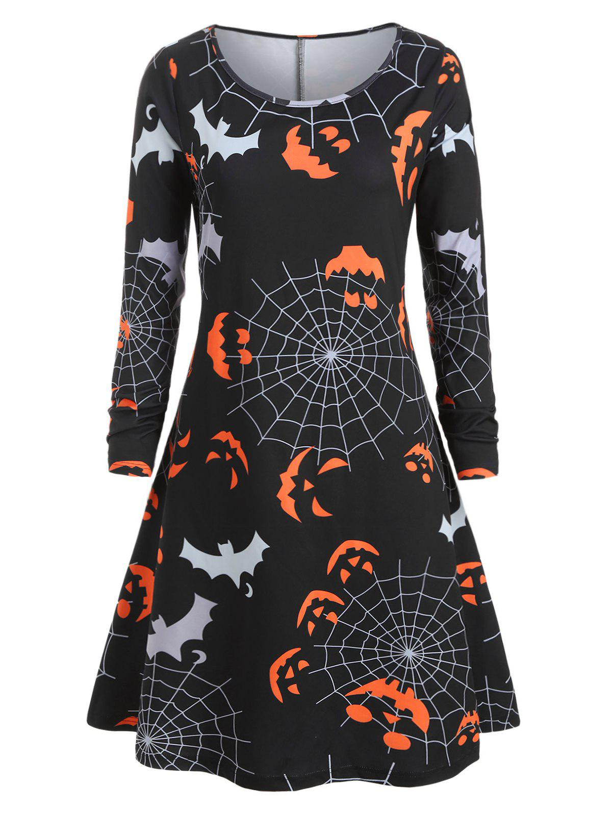New Plus Size Halloween Pumpkin Spider Web Print Swing Dress
